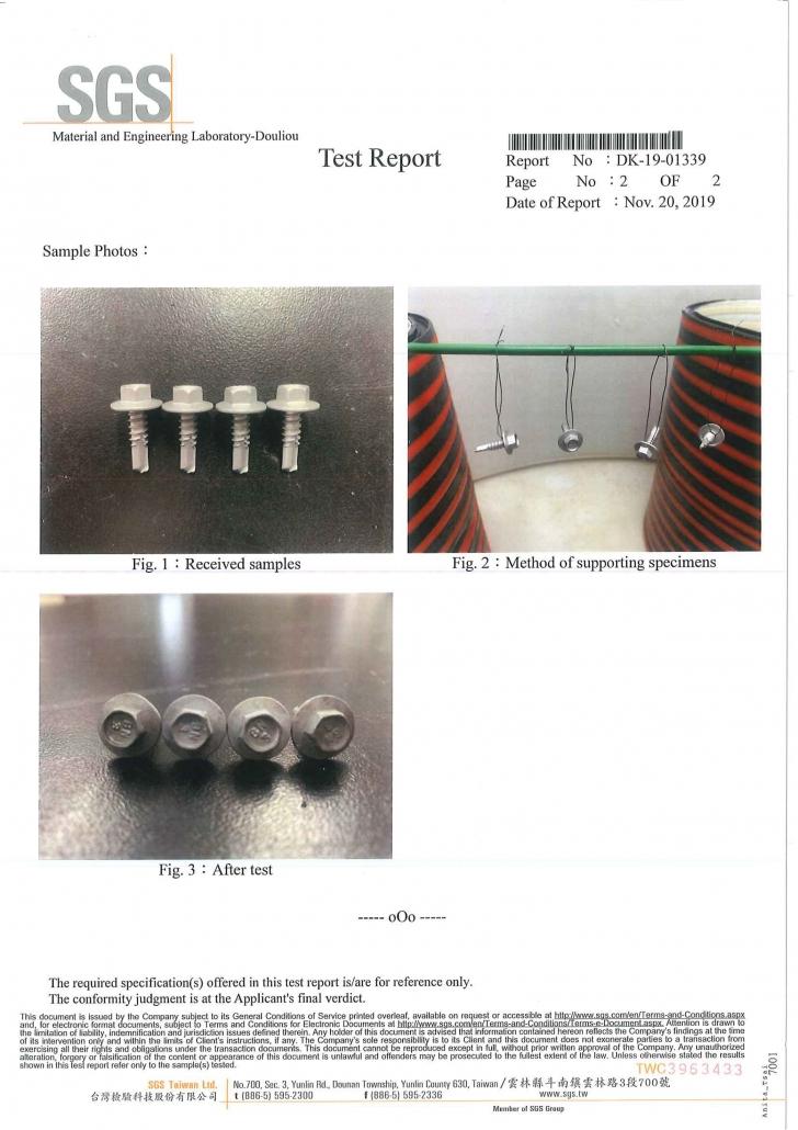SGS test report. BDN FASTENERS®