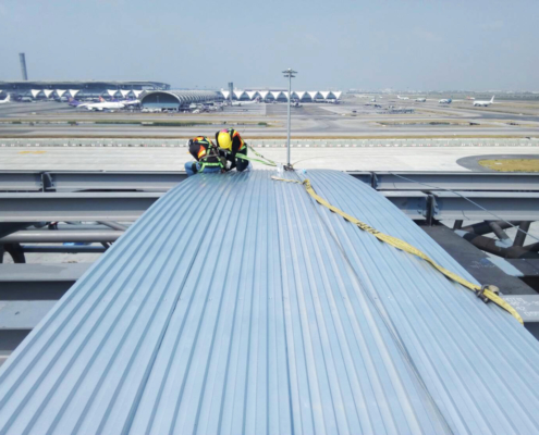 Airport metal roofing structure supported by BDN Fasteners steel stud framing screws
