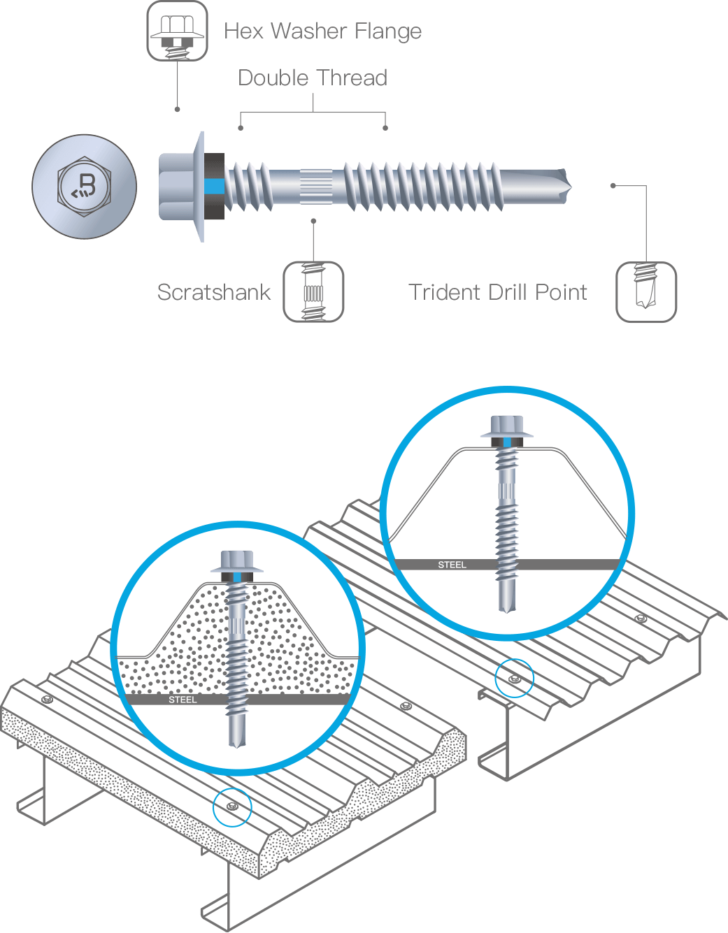 Illustration of BDN Skyblue series L Crest Fixing Trident Drill Point Self Drilling Screw Components
