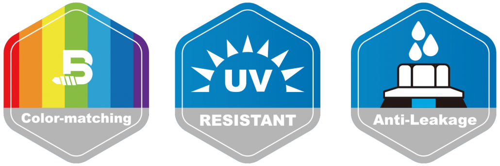 Color-matching, UV resistant, and anti leakage logo