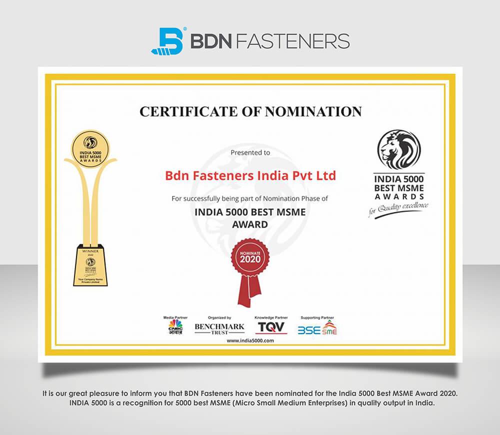 India 5000 Best MSME Award 2020   BDN Fasteners®