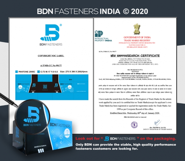 BDN FASTENERS® Packaging copyright registration