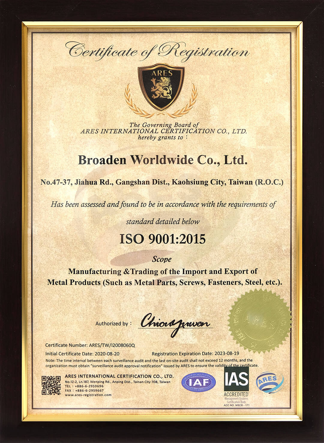 BDN FASTENERS ISO-9001-2015 certified-Made in Taiwan