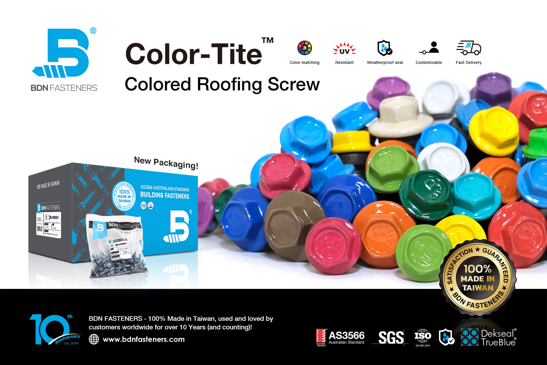 Colored Roofing Screw-BDN FASTENERS - Made in Taiwan
