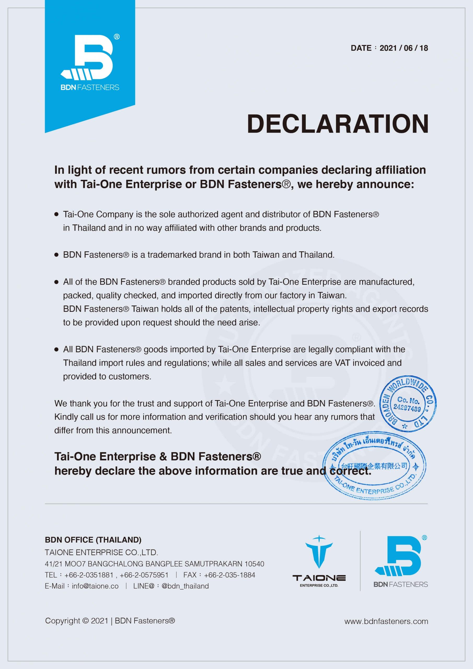 Tai-One Enterprise & BDN Fasteners® hereby declare