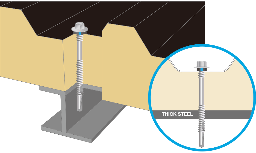 Application - Fixing to thick steel (sandwich panel screw)